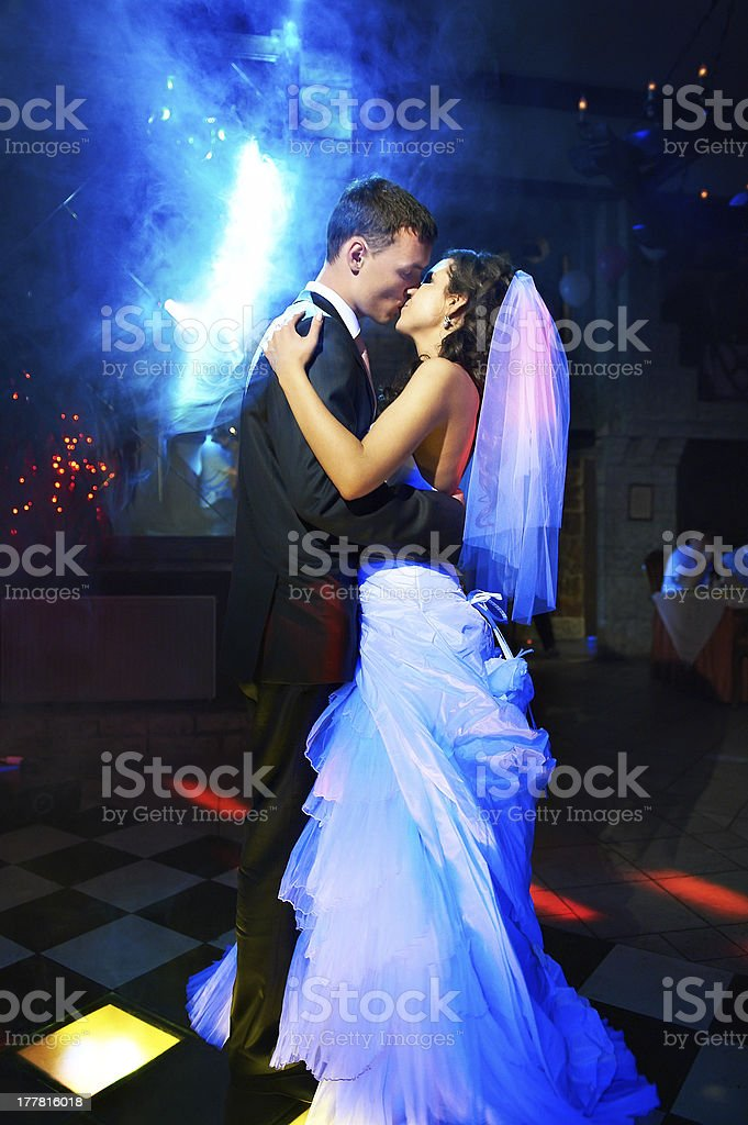 Kiss and dance young bride groom royalty-free stock photo