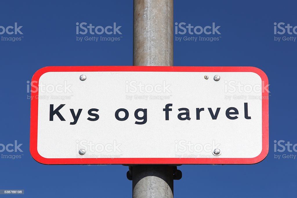Kiss and Goodbye in danish drop off zone in Denmark stock photo
