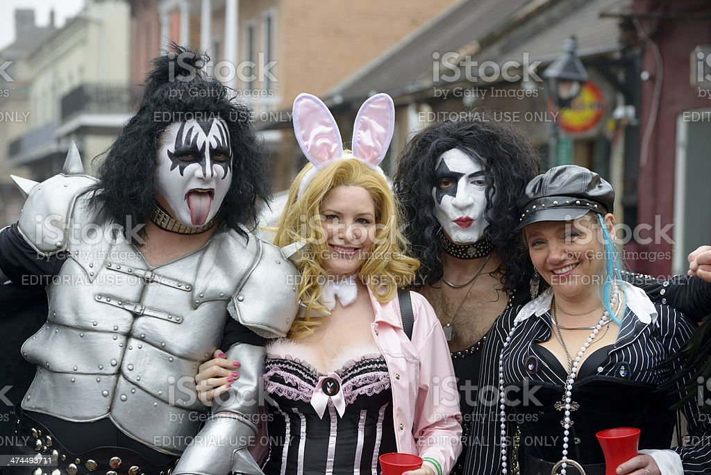 Kiss at Mardi Gras stock photo