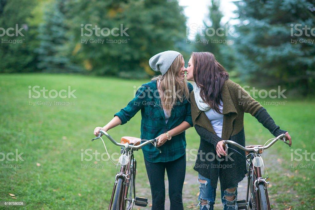 Kiss at the Park stock photo