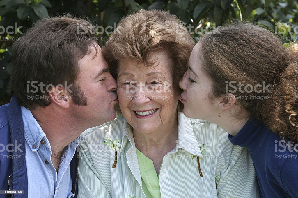 Kiss For Grandma royalty-free stock photo