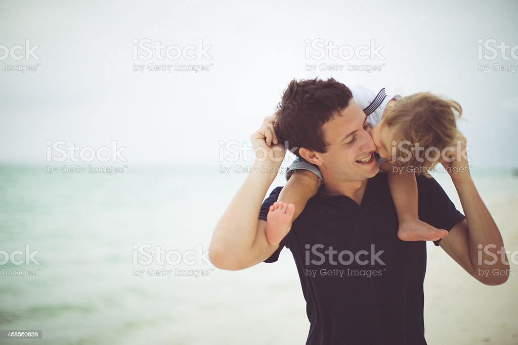 Kiss for my daddy stock photo