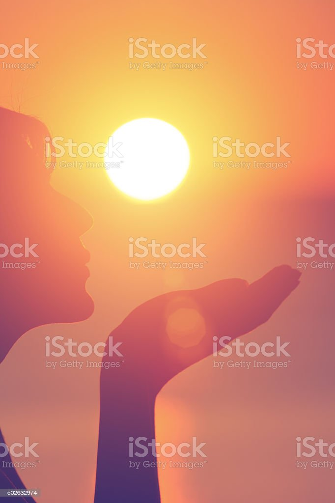 Kiss for the sun. stock photo