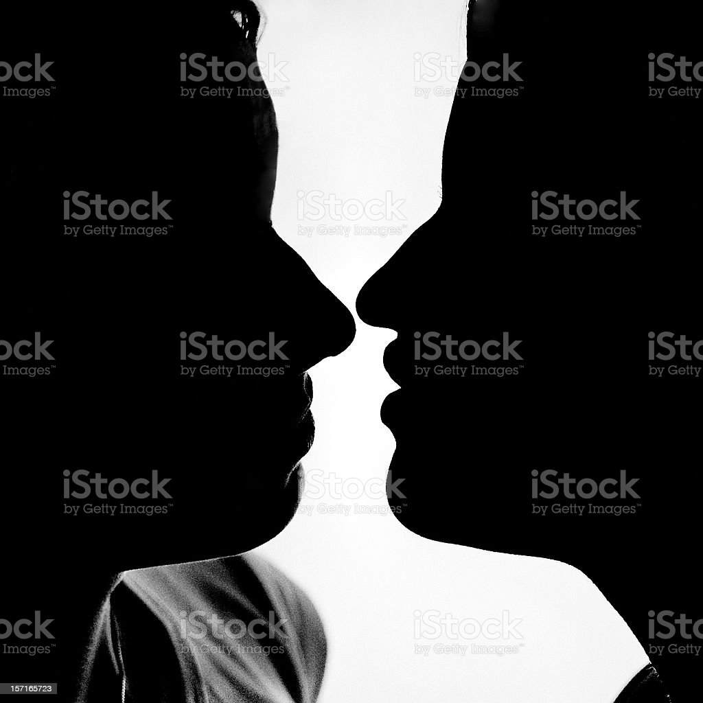 Kiss in B&W royalty-free stock photo
