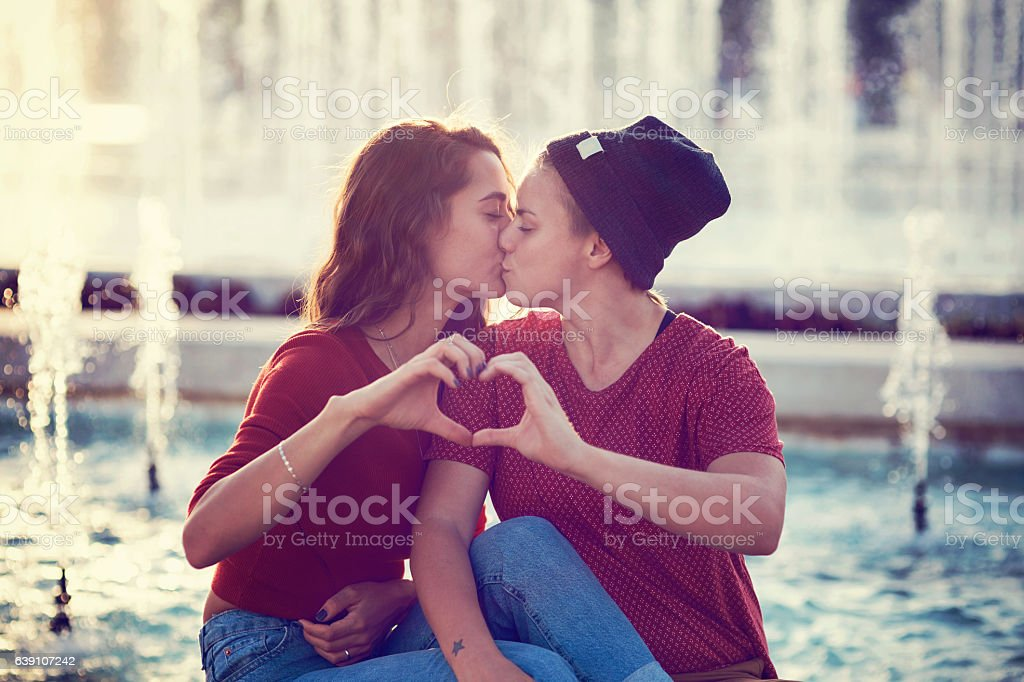 Kiss in the city stock photo