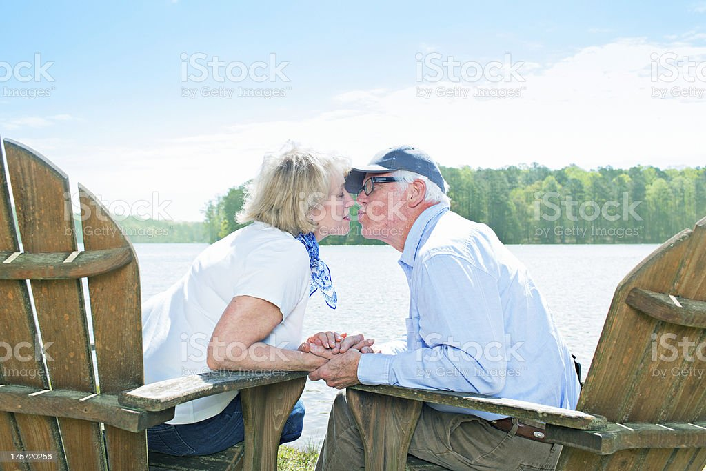 Kiss in the lake royalty-free stock photo