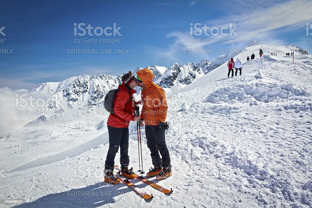 Kiss in the mountains royalty-free stock photo