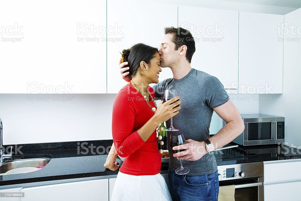 Kiss on forehead royalty-free stock photo