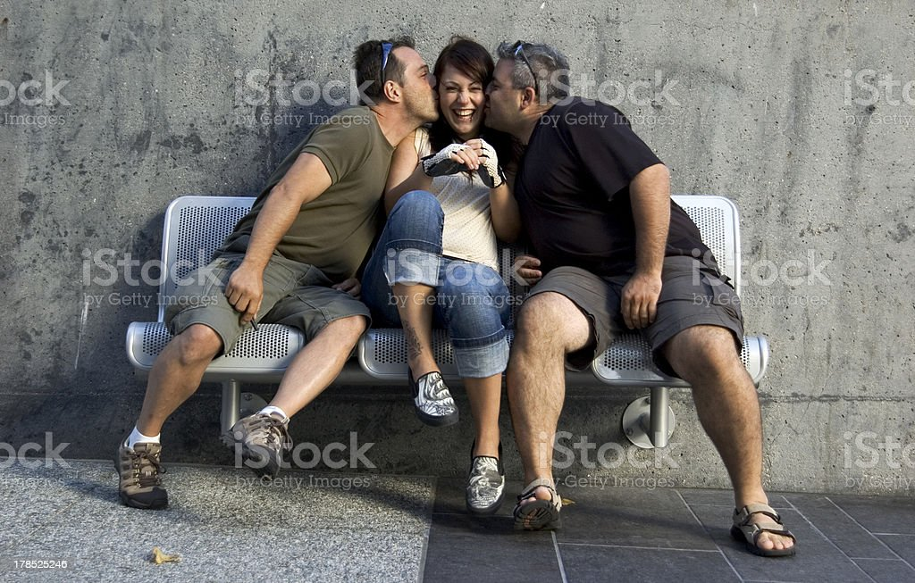 Kiss on the cheek royalty-free stock photo
