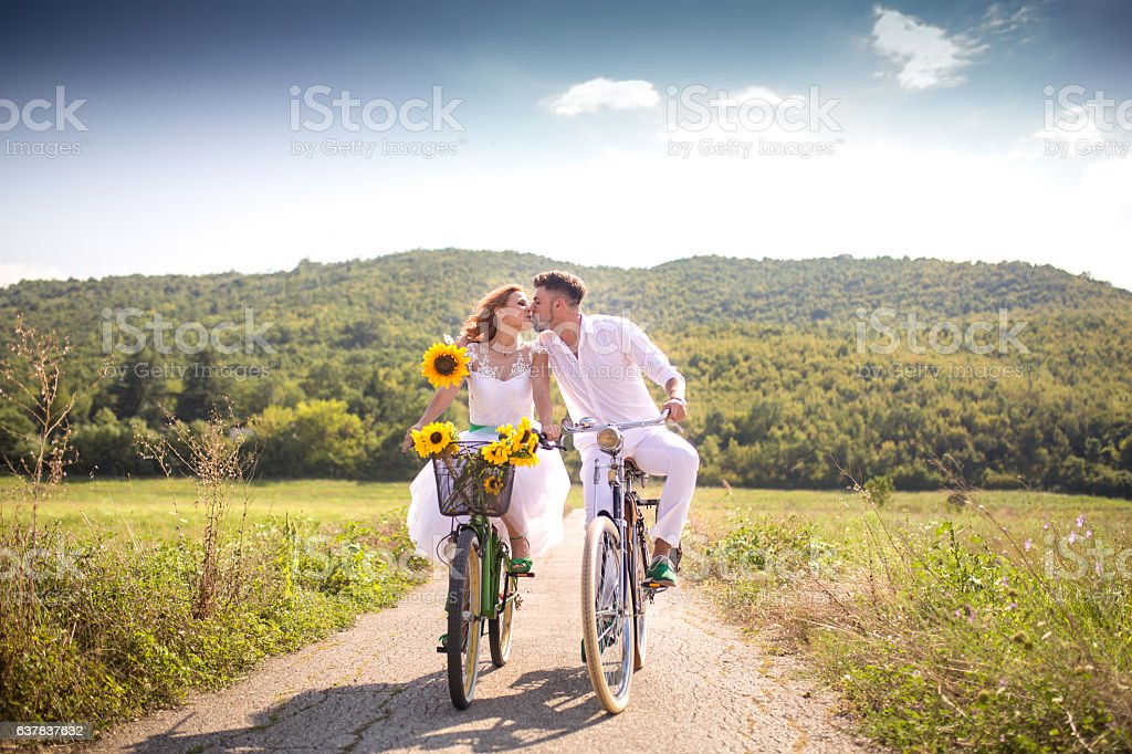 Kiss on the move stock photo