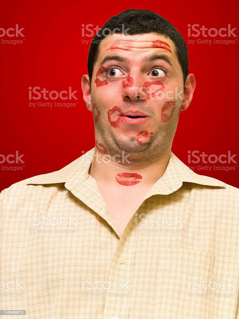 kissed man stock photo