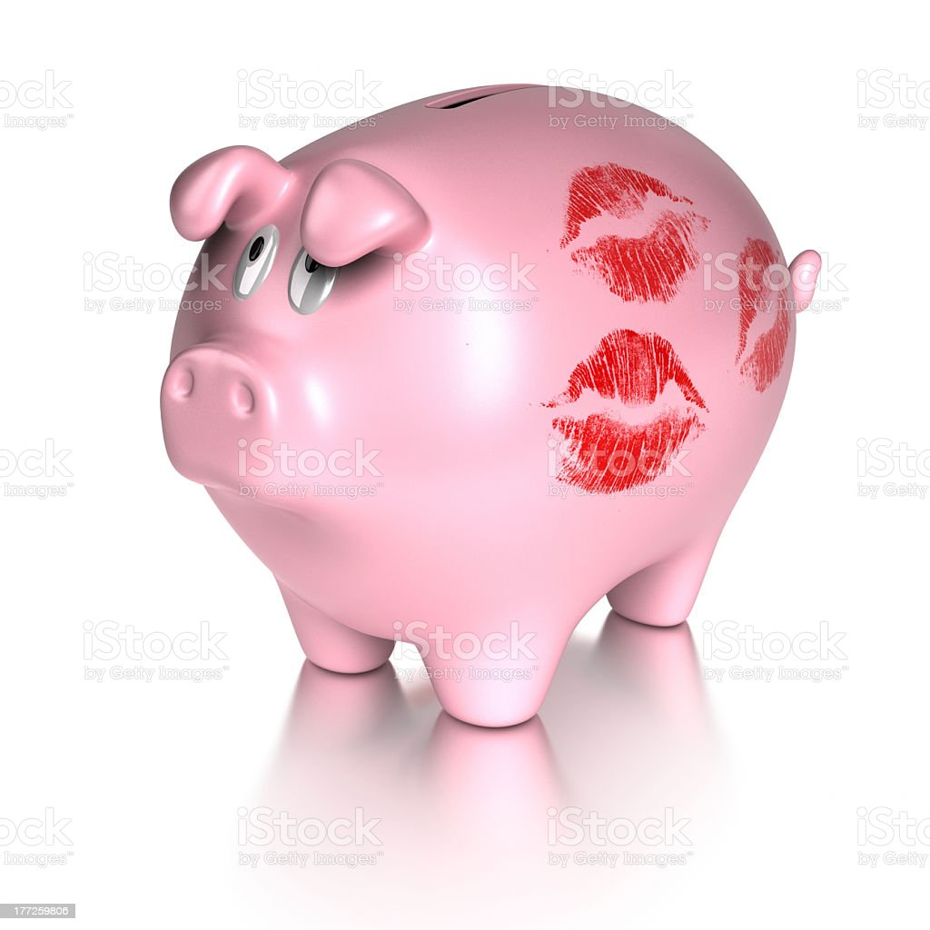 kissed piggy bank royalty-free stock photo