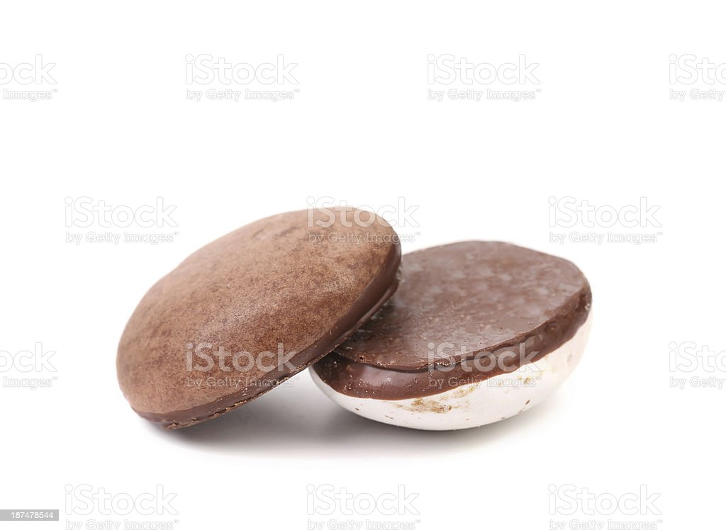 Kisses Cookies with chocolate. stock photo