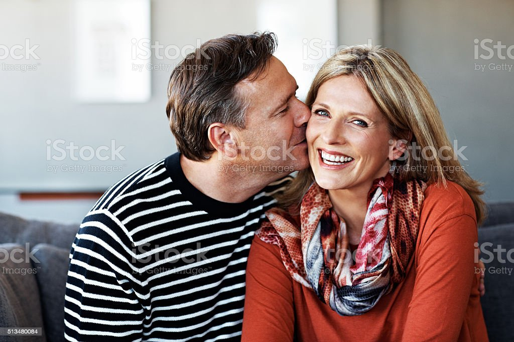 Kisses for his missus stock photo