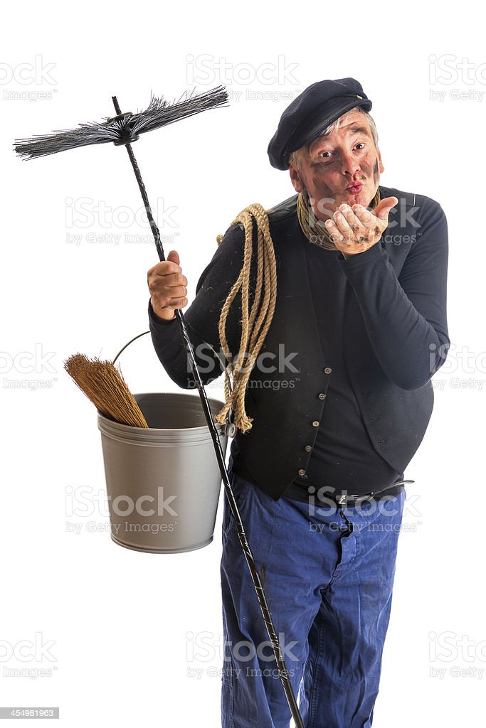 Kisses from a chimney sweep stock photo