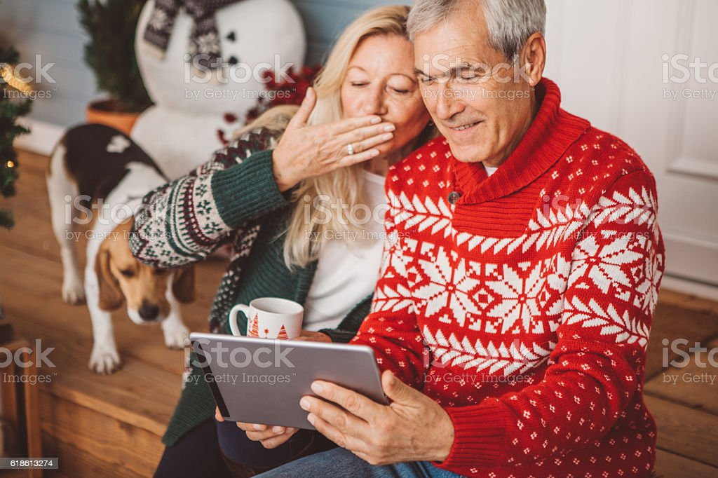 Kisses from grandparents! stock photo