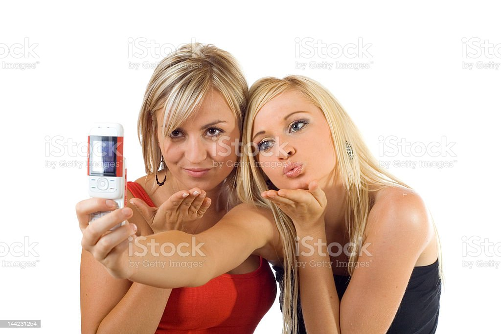 kisses to camera royalty-free stock photo