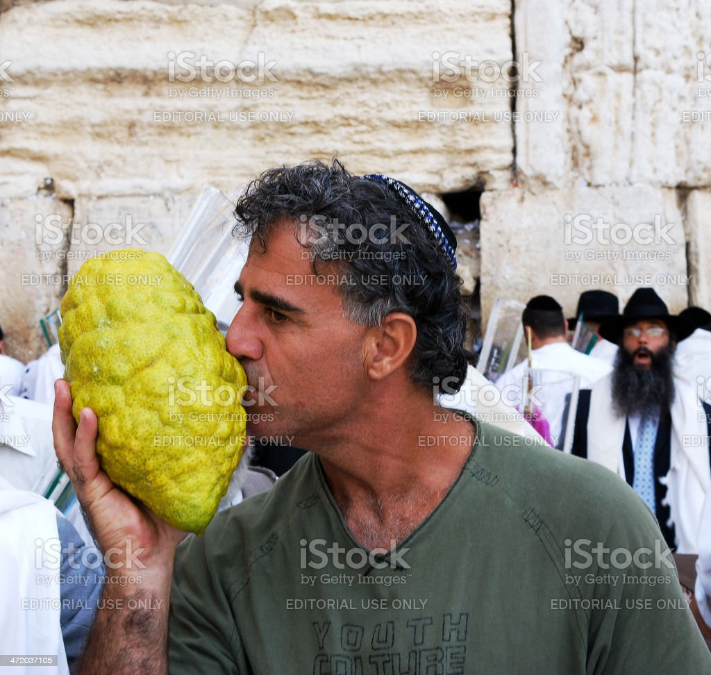 Kissing a beautiful Etrog. stock photo
