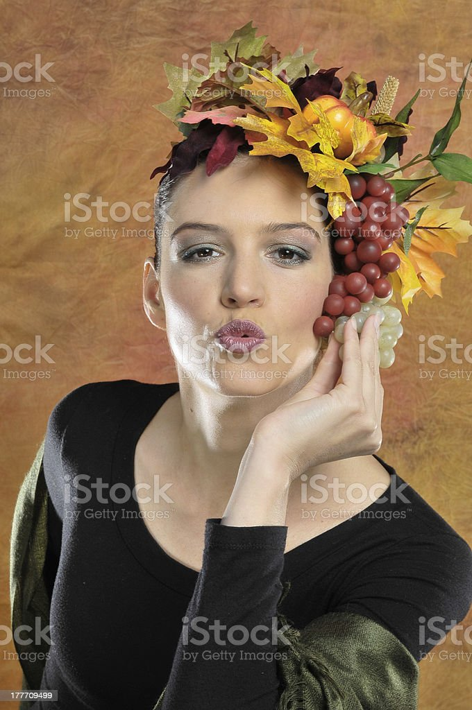 Kissing autumn leaves beauty royalty-free stock photo