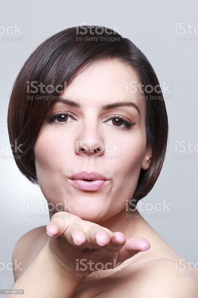 kissing beautiful woman portrait stock photo
