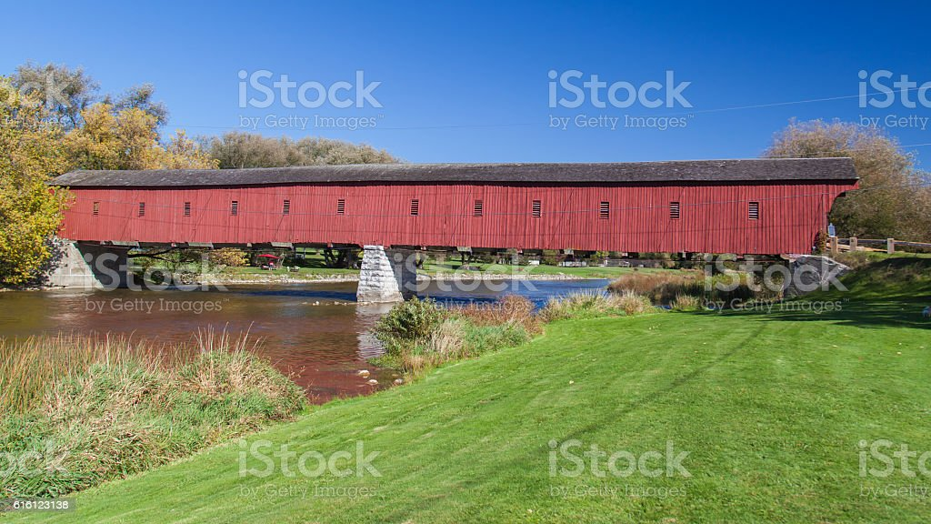 Kissing Bridge at West Montrose, Waterloo, Ontario, Canada stock photo