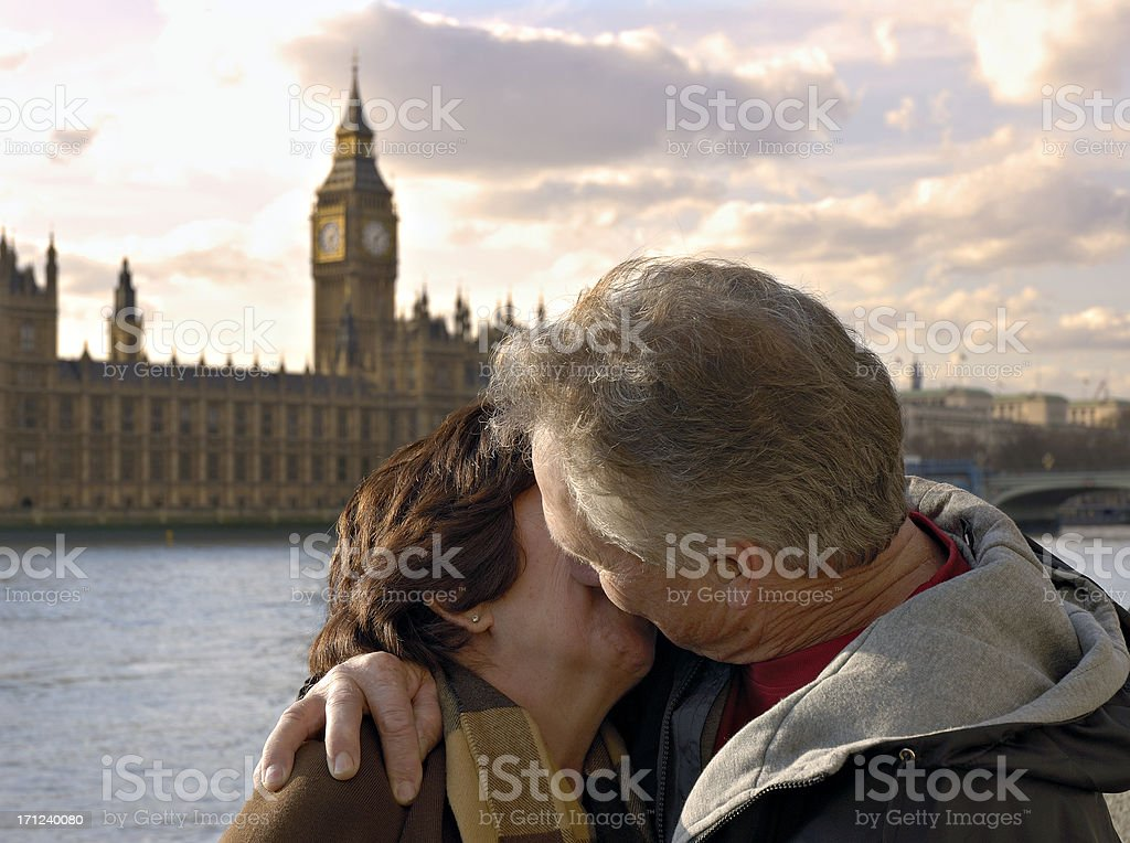 Kissing couple in London. royalty-free stock photo