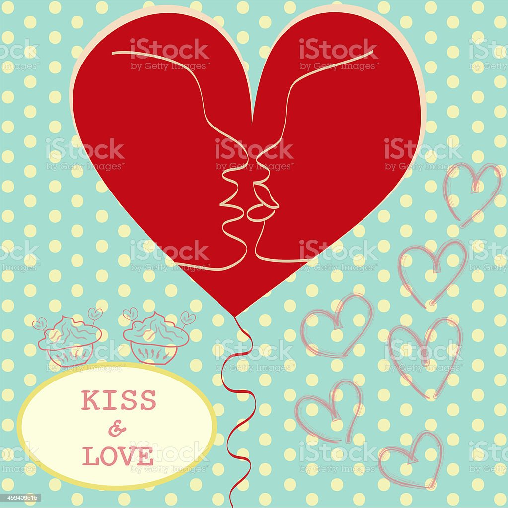 Kissing Couple in Love Heart Valentines day Greeting card stock photo