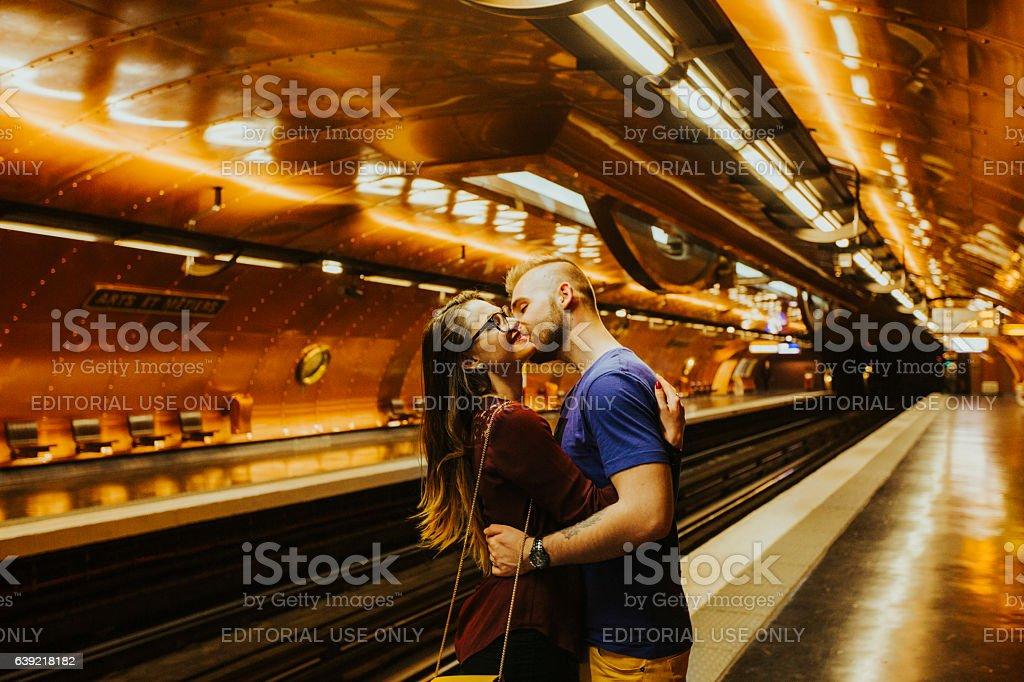 Kissing couple in Paris stock photo