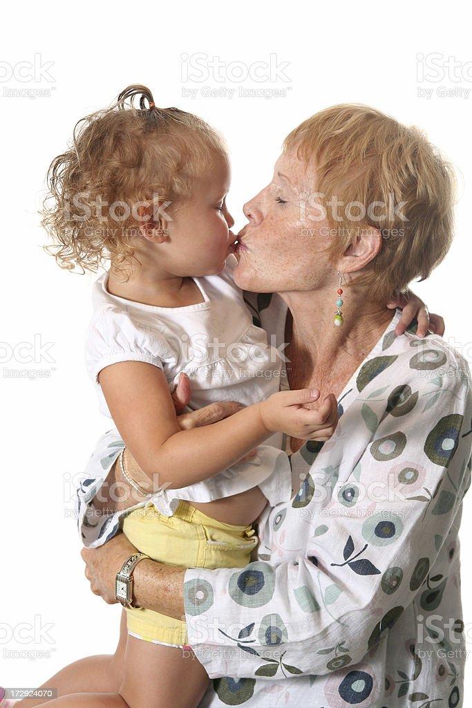 Kissing Great Grandma royalty-free stock photo
