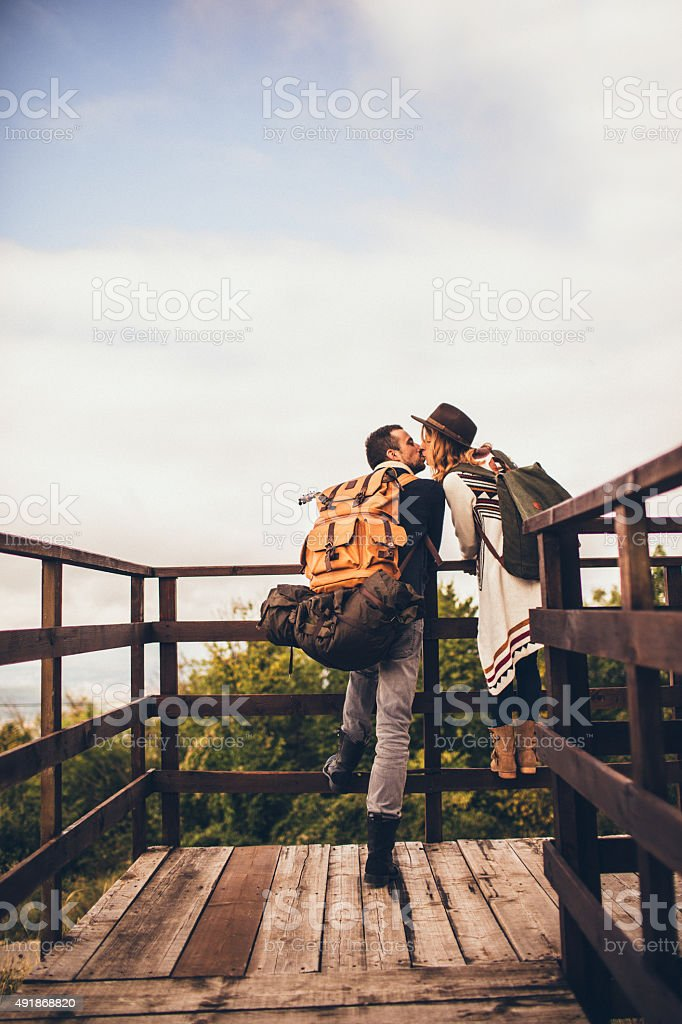 Kissing in the nature stock photo