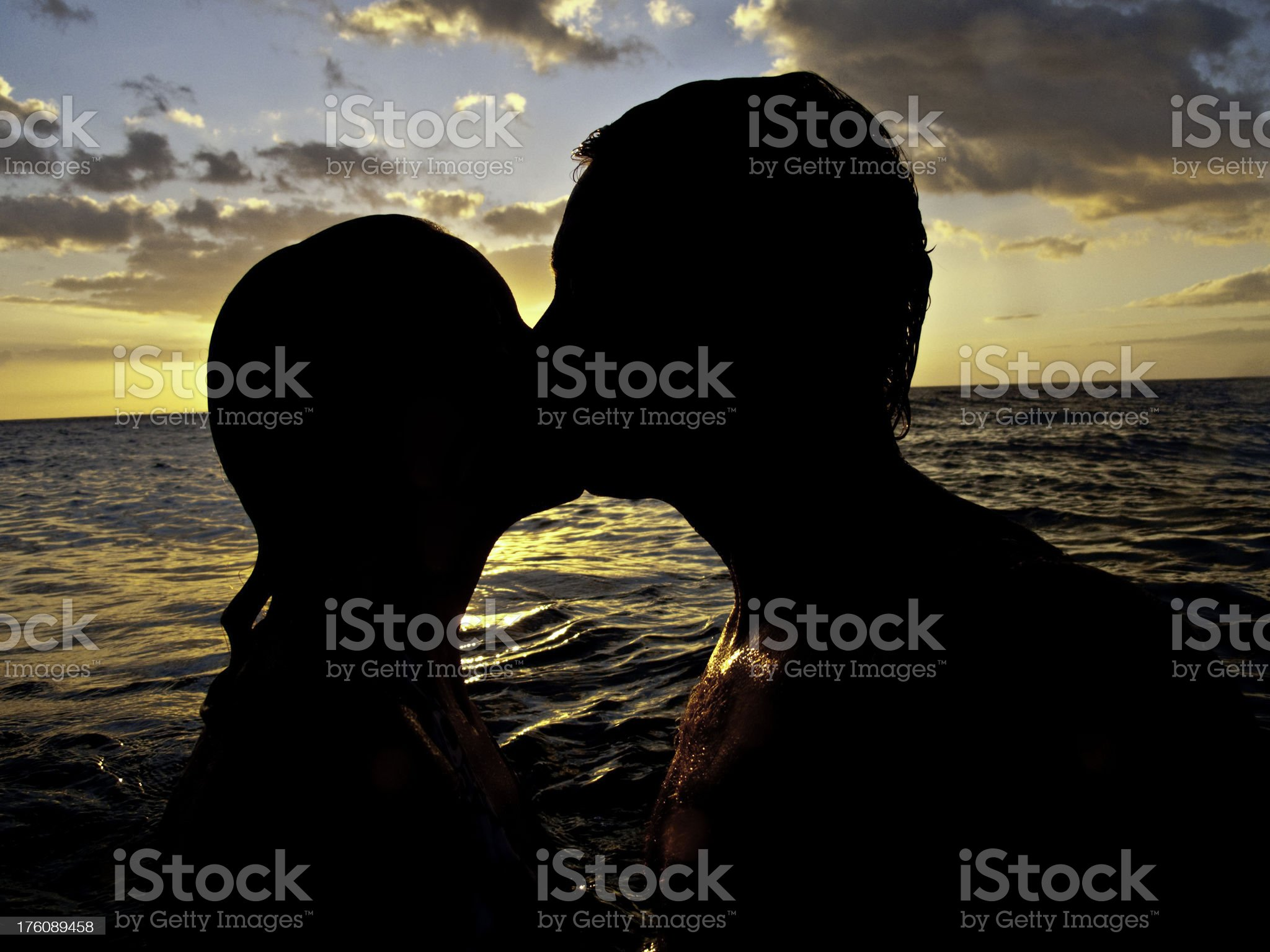 Kissing in the Ocean royalty-free stock photo