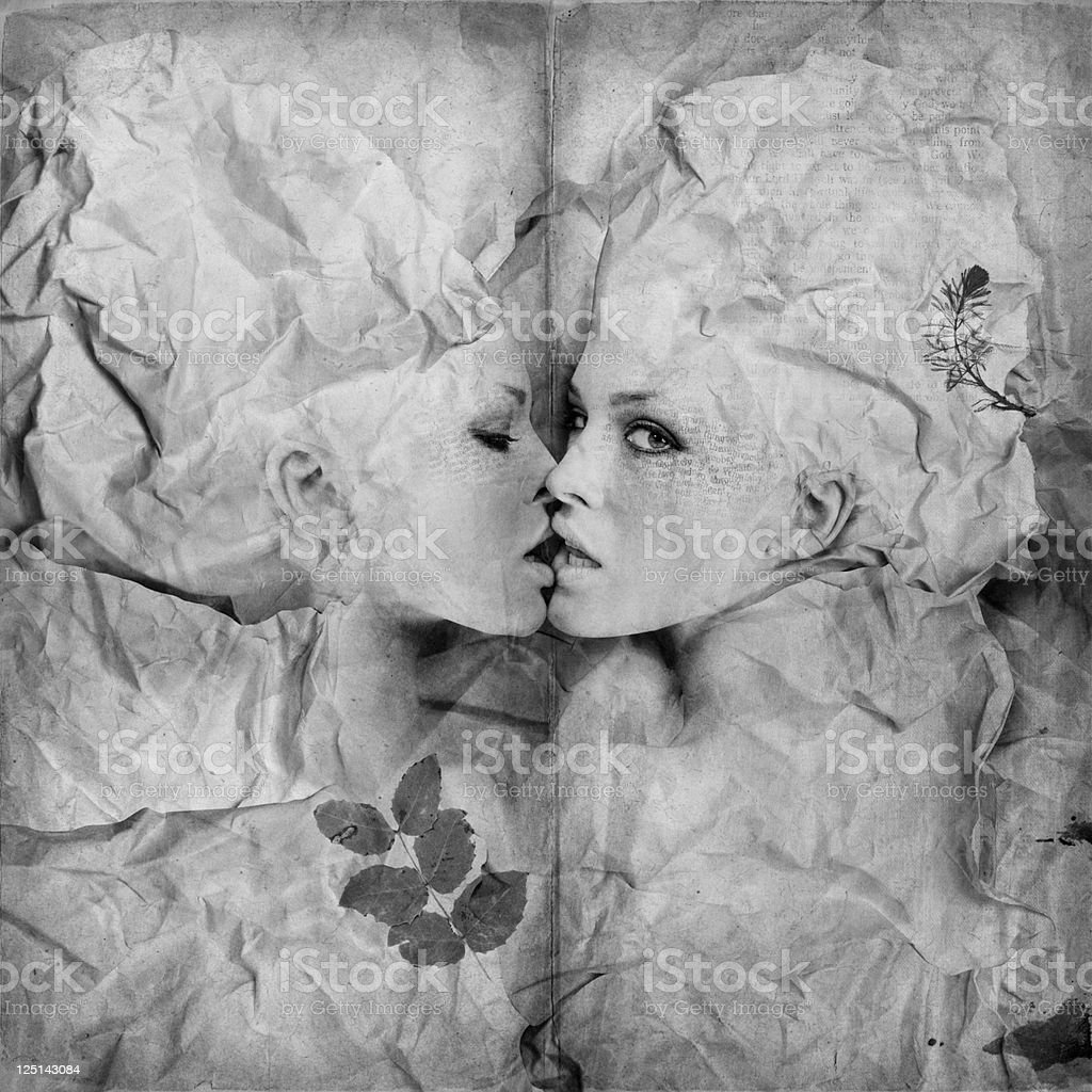 kissing pages stock photo