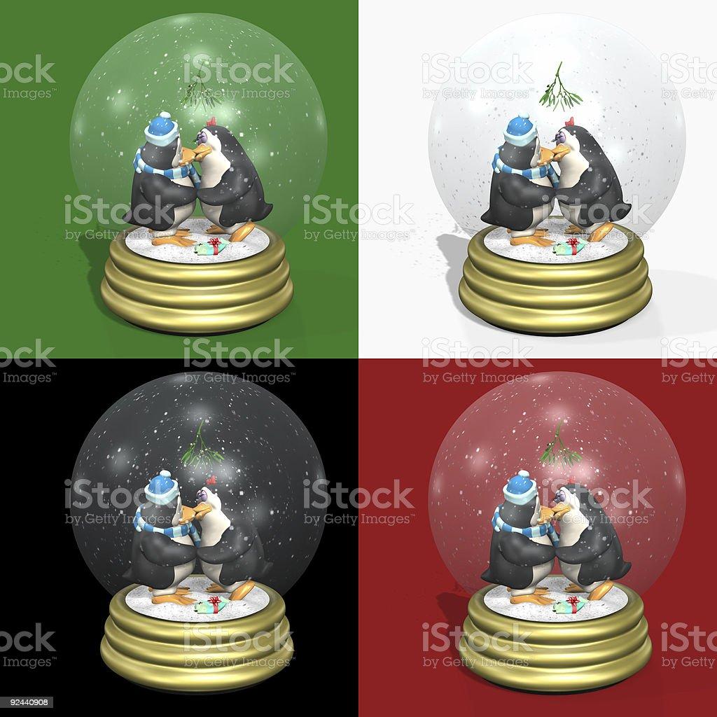 Kissing Penguins Snow Globes stock photo