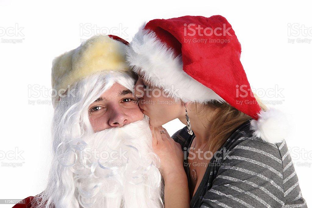 Kissing Santa royalty-free stock photo