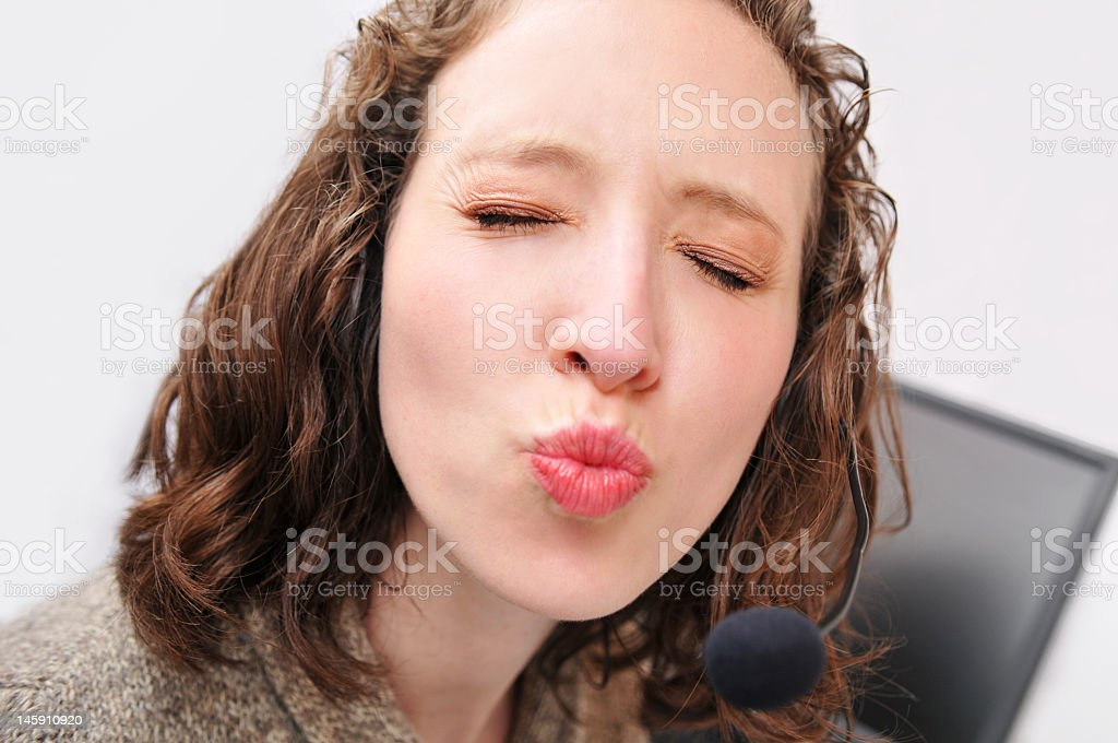 Kissing Secretary royalty-free stock photo