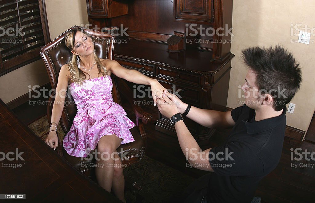 Kissing up to the Boss' Daughter royalty-free stock photo