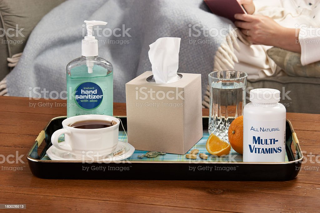Kit for fighting the cold and flu season stock photo