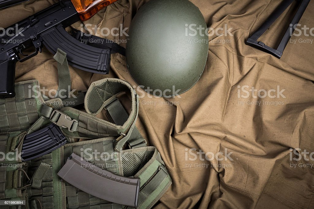 Kit of modern Russia military equipment stock photo
