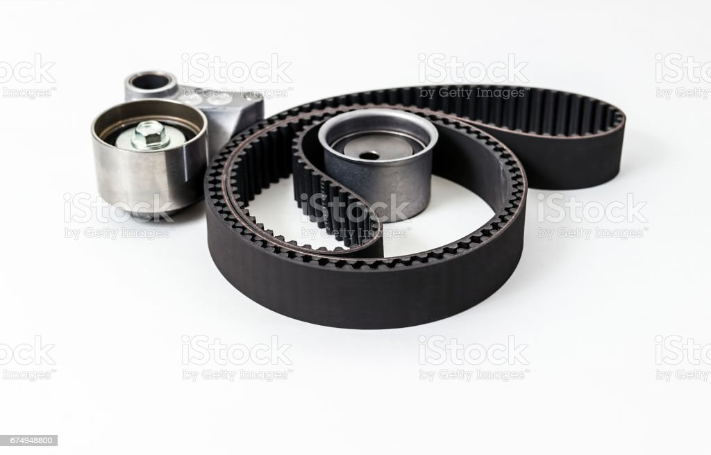 Kit of timing belt with rollers. Auto Parts. stock photo
