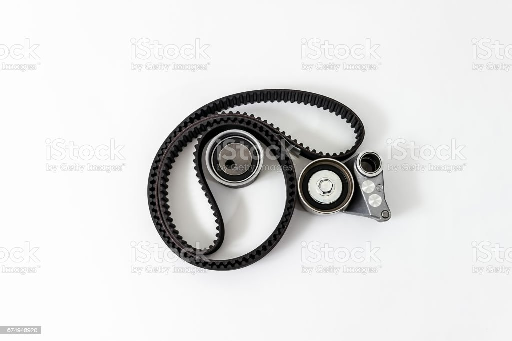 Kit of timing belt with rollers. Spare Parts. stock photo