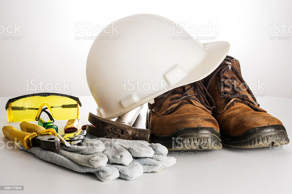 Kit of tools and equipments used by an electrician. stock photo