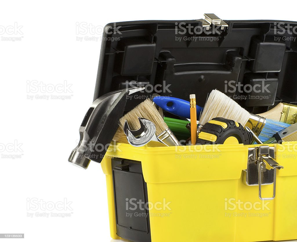 kit of tools in box isolated on white royalty-free stock photo