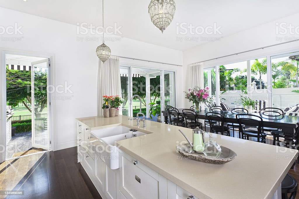 Kitchen and Dining area stock photo