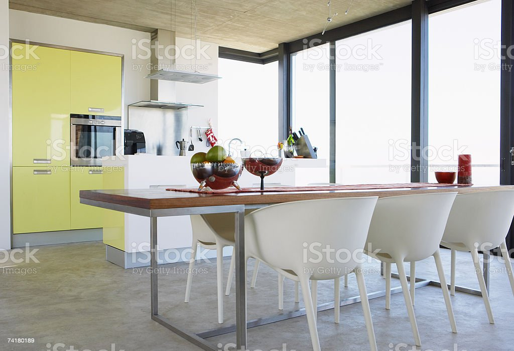 Kitchen and dining room with large window royalty-free stock photo
