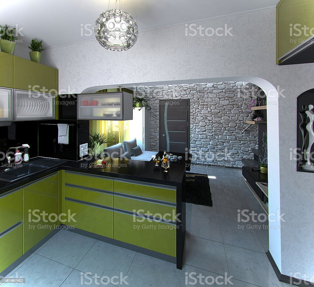 Kitchen and living room, 3D rendering stock photo