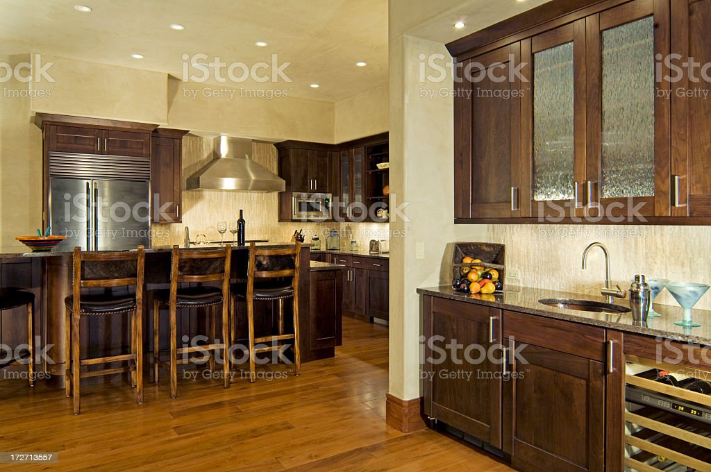 Kitchen and Wet Bar royalty-free stock photo