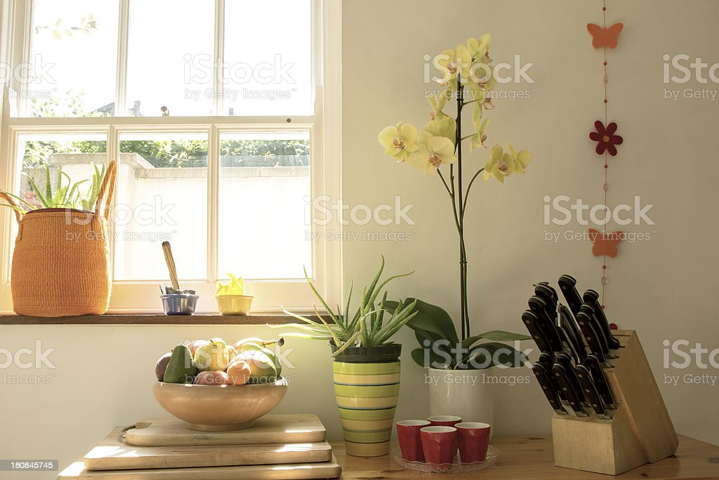 Kitchen angle with window stock photo