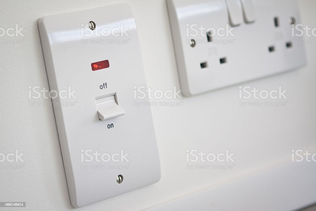 Kitchen Appliance Switch Set to On stock photo