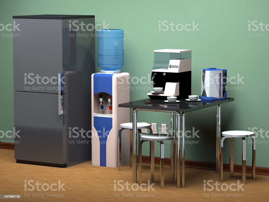 Kitchen area in the office. stock photo