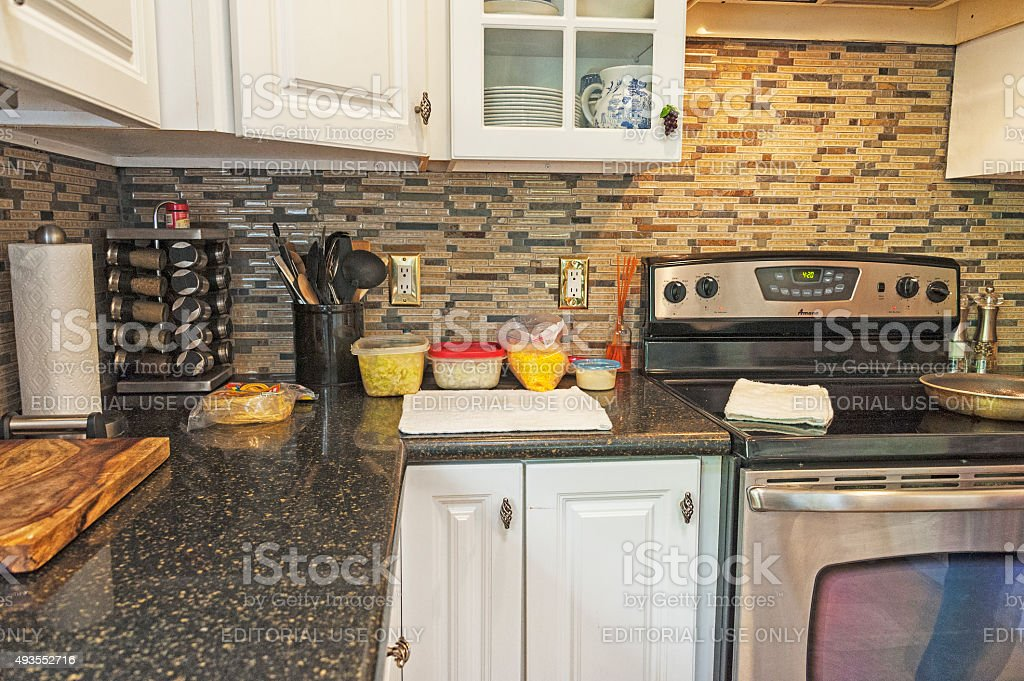 Kitchen Backsplash Taco Preparations stock photo